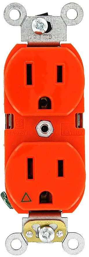 Leviton 5262-IG 15-Amp, 125 Volt, Industrial Series Heavy Duty Specification Grade, Duplex Receptacle, Straight Blade, Isolated Ground, Orange, SMALL
