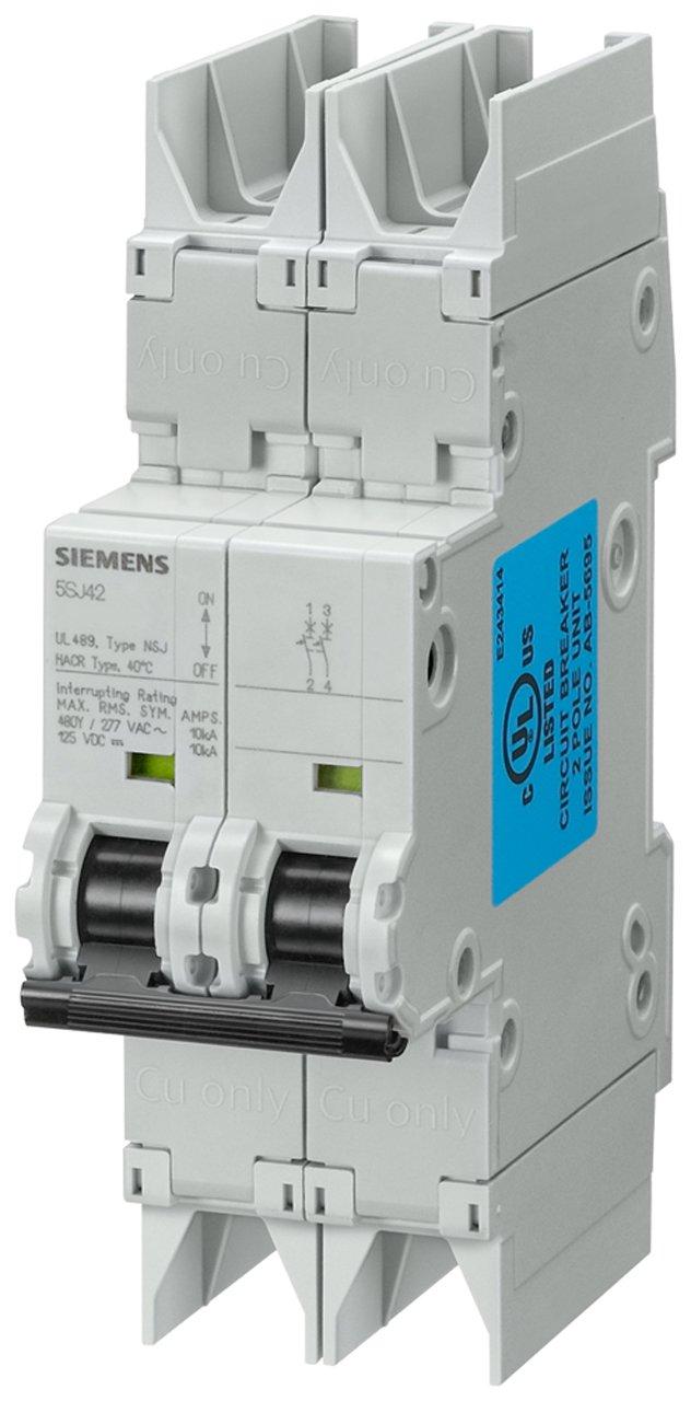 Siemens 5SJ42157HG42 Miniature Circuit Breaker, UL 489 Rated, 2 Pole Breaker, 1.6 Ampere Maximum, Tripping Characteristic C, DIN Rail Mounted, Type NSJ, 480Y/277 VAC, 125 VDC