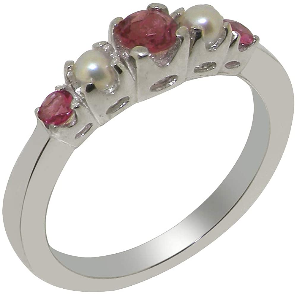 Solid 14k White Gold Natural Pink Tourmaline & Cultured Pearl Womens band Ring - Sizes 4 to 12 Available