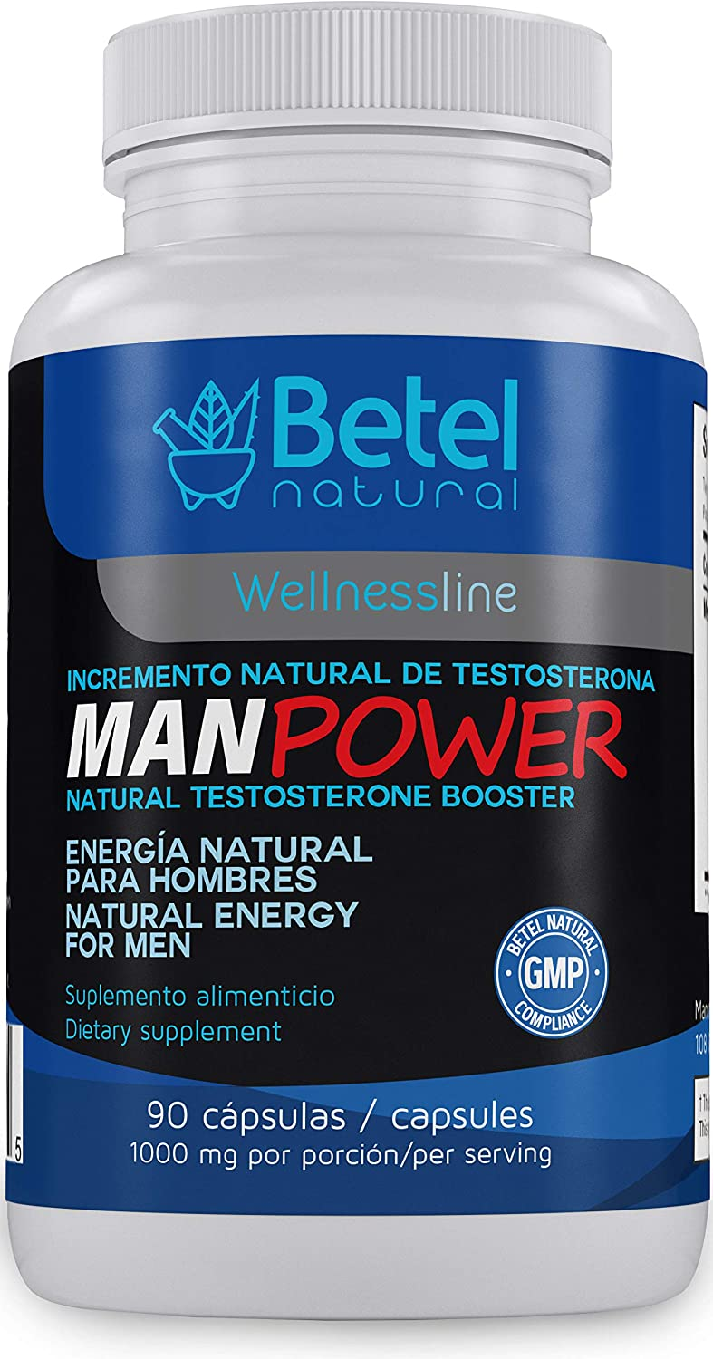 Manpower Natural Testosterone Support by Betel Natural - Healthier Man, Healthy Testosterone - 1000 mg per Serving