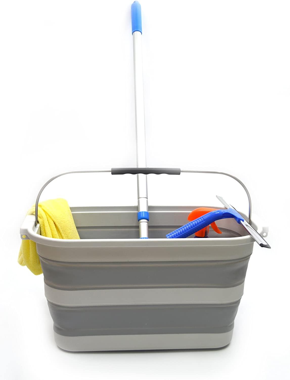 SAMMART 20.8L (5.49Gallon) Collapsible Rectangular Handy Basket / Bucket (S. Grey)