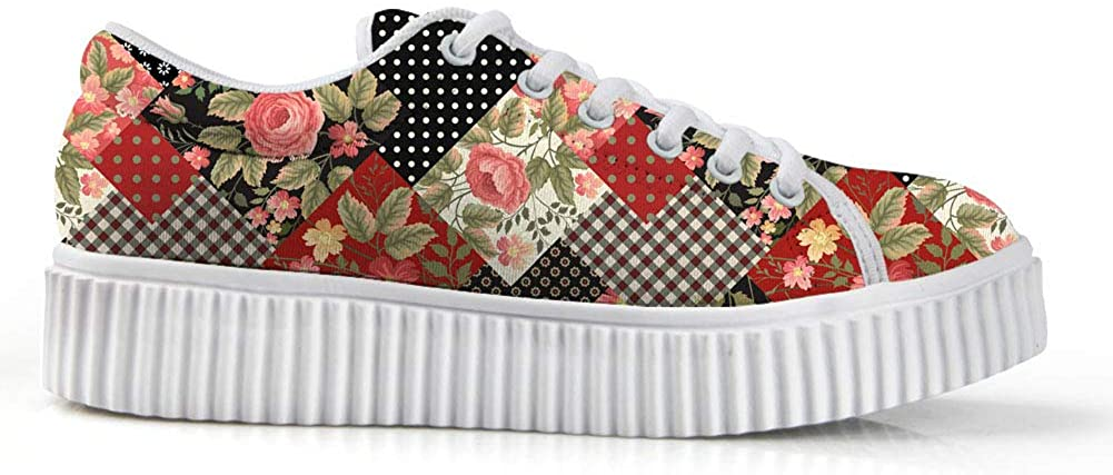 Zzjsstore Design Low Shoes 3D Printed Flowers Patterned Low Shoes are Suitable for Women's Leisure