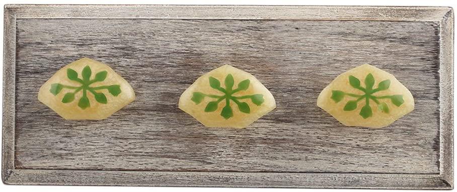 Indianshelf Handmade 3 Artistic Vintage Wooden Green Leaf Key Holders Towel Hooks for Hanging Coats Designer