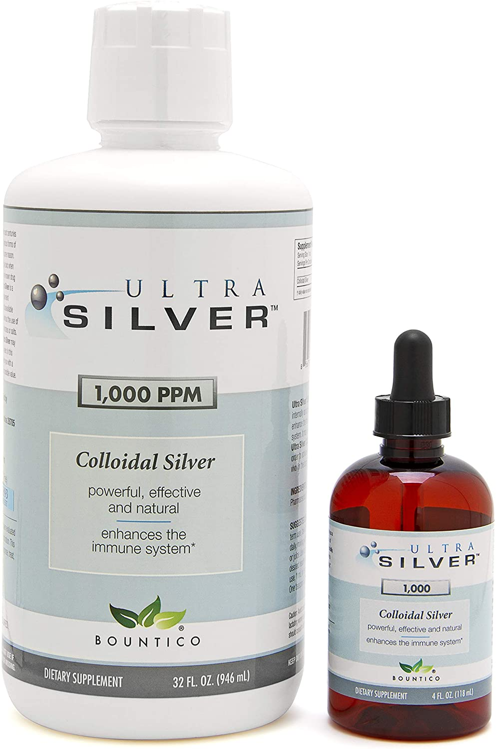 Ultra Silver® Colloidal Silver | 1,000 PPM, 32 Oz (946mL) | Mineral Supplement | True Colloidal Silver - 4 oz Dropper Bottle (Empty) Included for Dispensing!