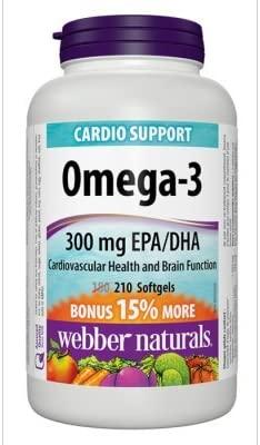 Webber Naturals Omega-3 Fish Oils, 210 softgels Bonus Size