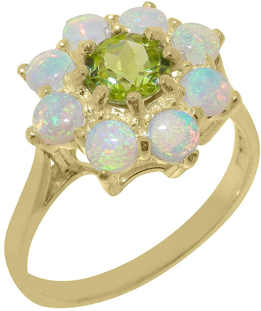 Solid 14k Yellow Gold Natural Peridot & Opal Womens Cluster Ring - Sizes 4 to 12 Available