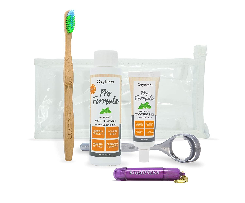 Oxyfresh Fresh Breath Pro Formula w/Zinc Travel Kit– Incl 1 oz Pro Formula Toothpaste, 3 oz Pro Formula Mouthwash & Eco Friendly Bamboo Toothbrush | Low Abrasion, No Alcohol, Stop Bad Breath