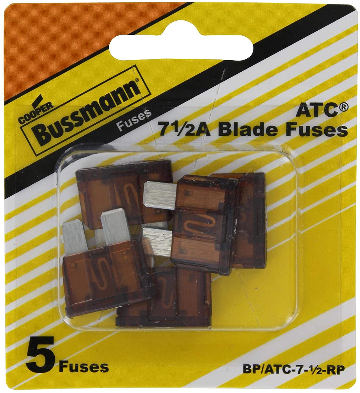 Bussmann BP/ATC-7-1/2-RP ATC Automotive Blade Fuse (71/2 Amp (Card)), 5 Pack