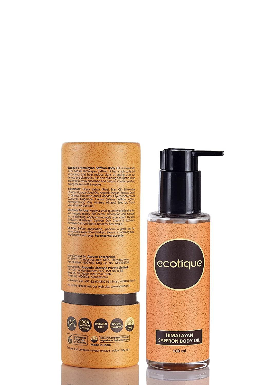 Ecotique Himalayan Saffron Body Oil, 3.5 Fl. Oz, 99.8% Natural Face & Body Oil, long lasting moisturization