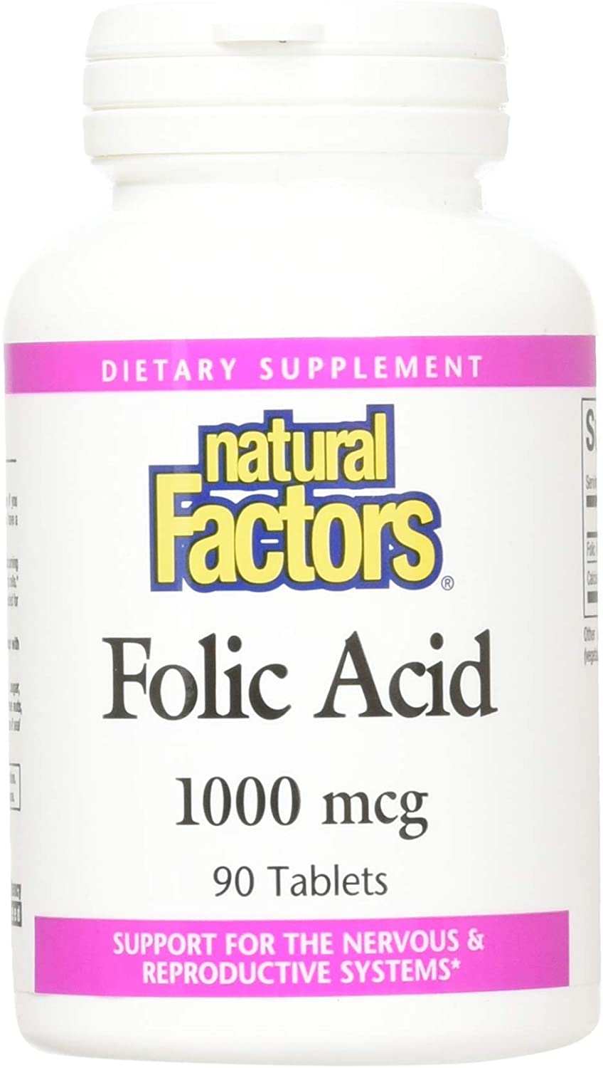 Natural Factors, Folic Acid 1000 mcg, Supports a Healthy Pregnancy, Nervous System, Brain and Mental Health , 90 tablets (90 servings)