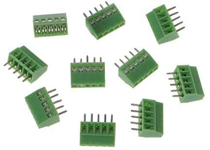 Terminals 10 Pcs 2Pin-10Pin Screw PCB Mounted Terminal Blocks Connector 2.54mm Pitch (Color : 5PIN)