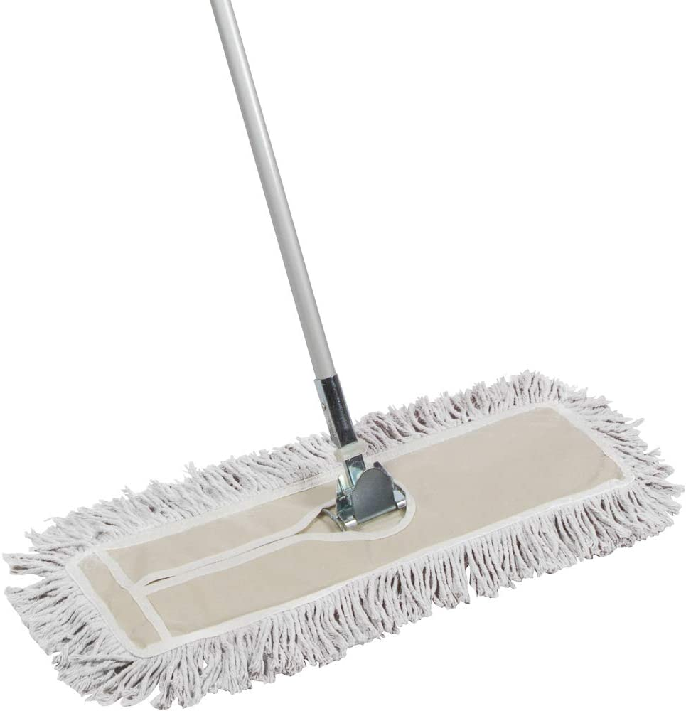 Tidy Tools 24 Inch Cotton Dust Mop - 24'' X 5'' Wide Mop Head with Cut Ends (60 Inch Extendable Metal Telescopic Handle)