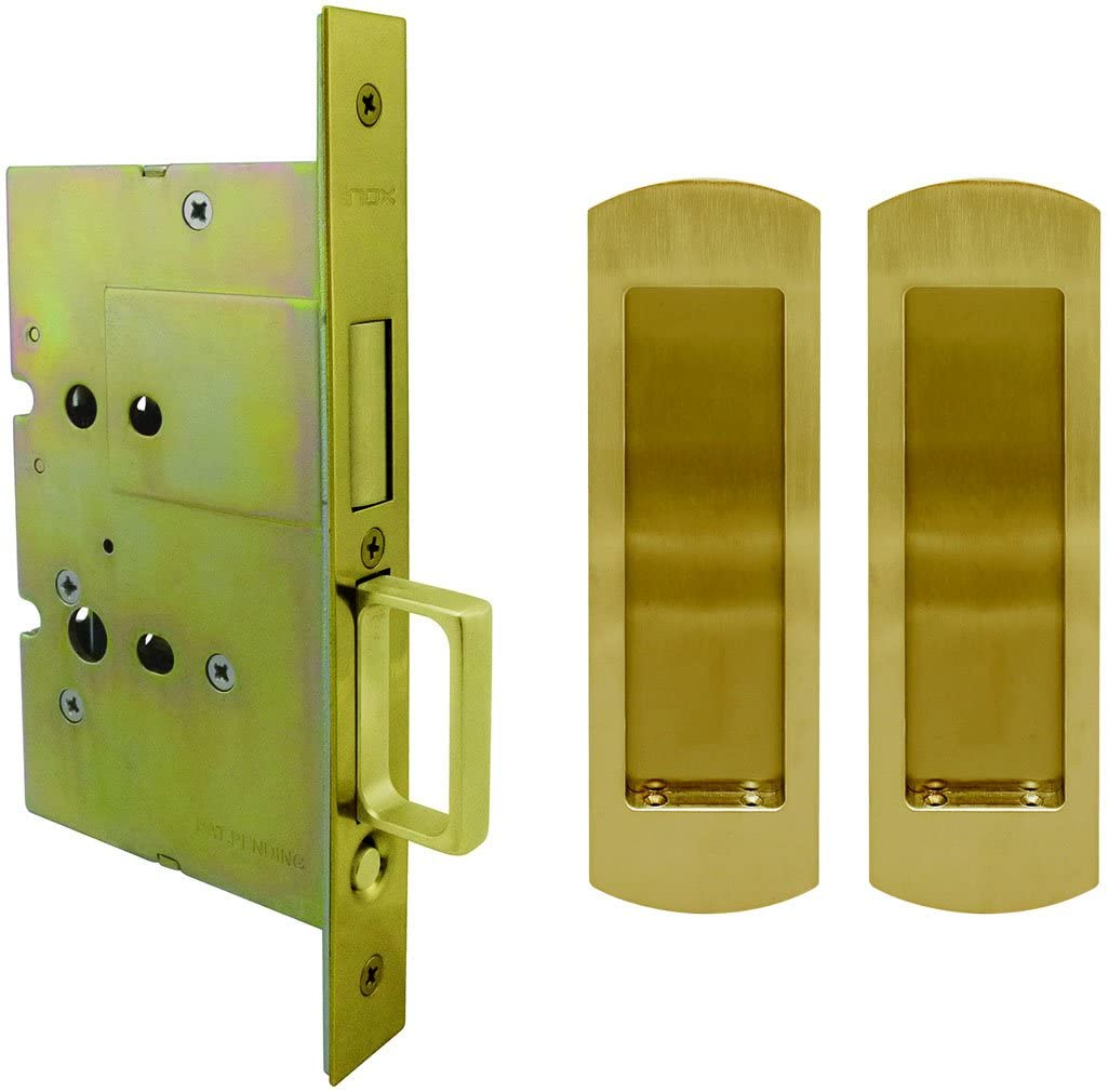 INOX FH29PD8115-38 Pocket LOCK Passage with Dust Proof Strike and Arc Trim, Aged Brass