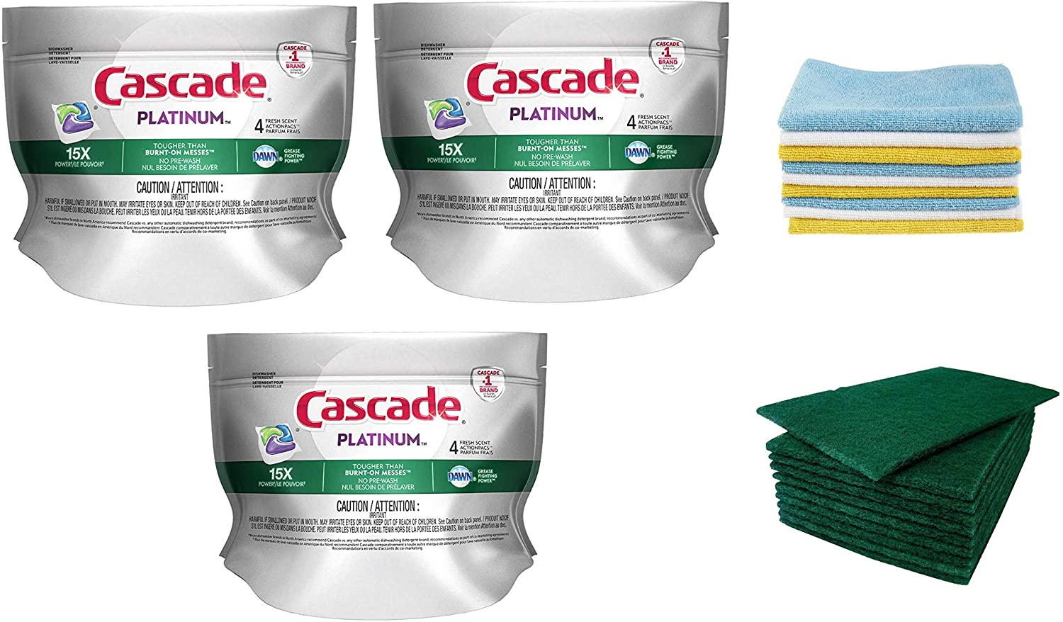 Cascade Platinum ActionPacs Dishwasher Detergent, Fresh 3 Pack-12 Pods Total (Including 2 Pack Microfiber Towel Kitchen Cloths & 10 pc Scouring Pads) Dishwasher Detergent & Kitchen Cleaning Set