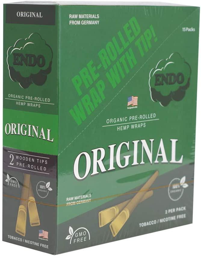 15PK Display - Endo Pre-Rolled Hemp Wraps - Original