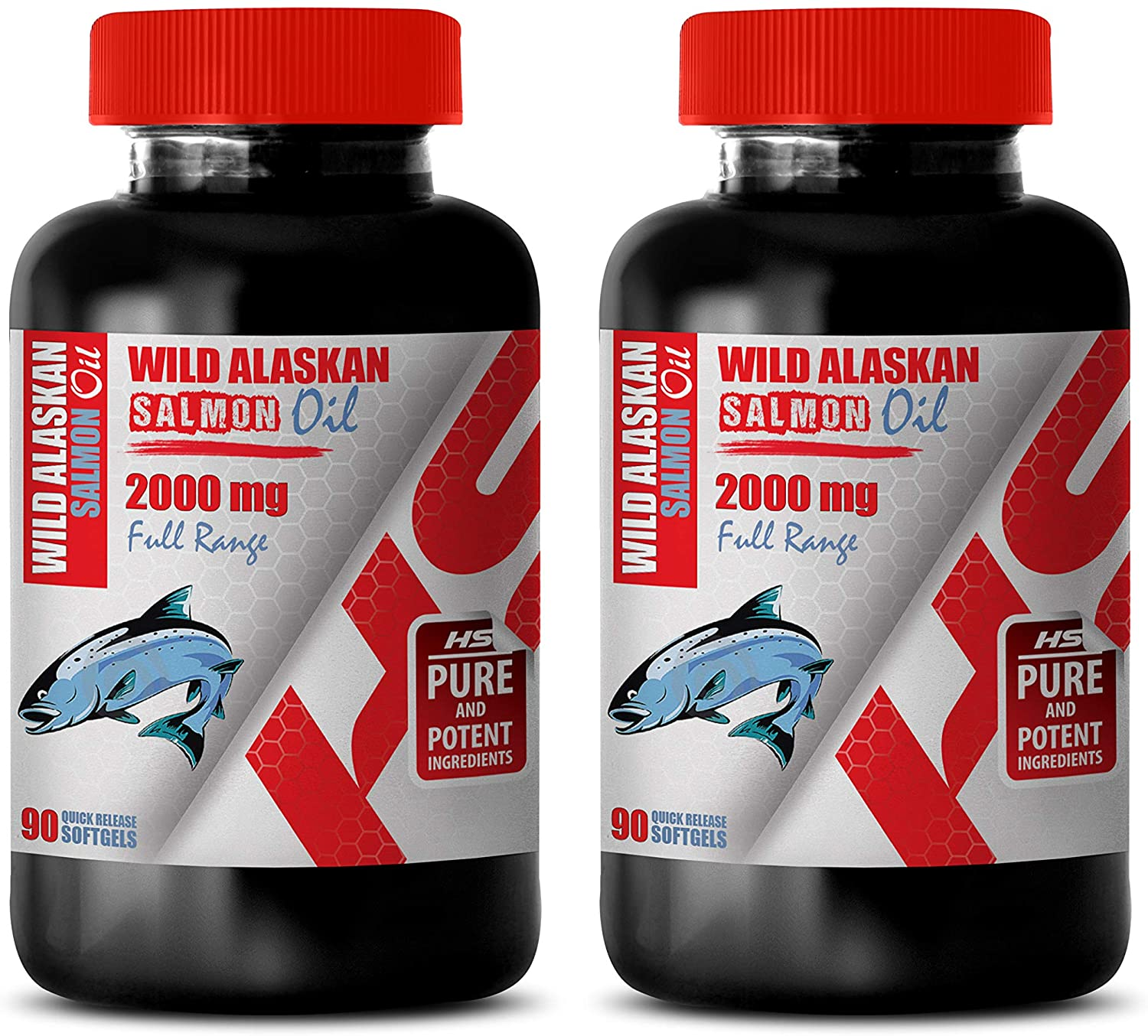 Brain Function Support Supplements - Wild Alaskan Salmon Oil 2000 Mg Full Range - Fish Oil Bulk Supplements - 2 Bottles 180 Softgels