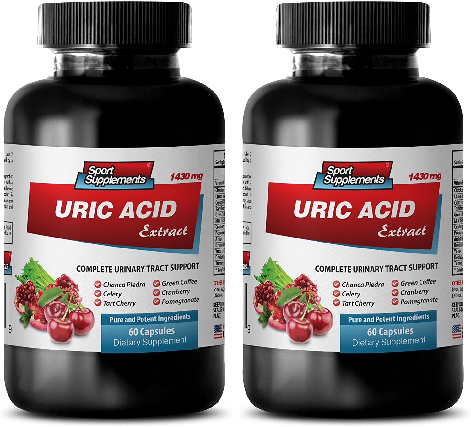 Weight Loss and Energy Pills - URIC Acid Formula Extract 1430Mg - Kidney Support Pills - 2 Bottles (120 Capsules)