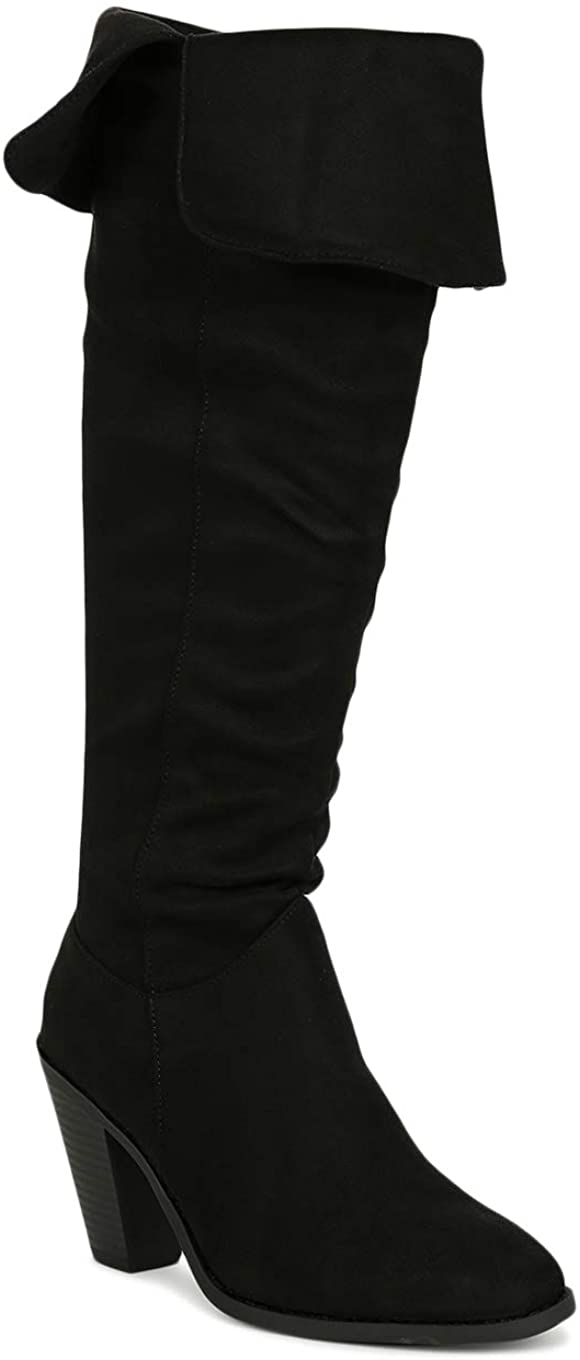 Women Faux Suede Almond Toe Over The Knee Chunky Stacked Boot SB01