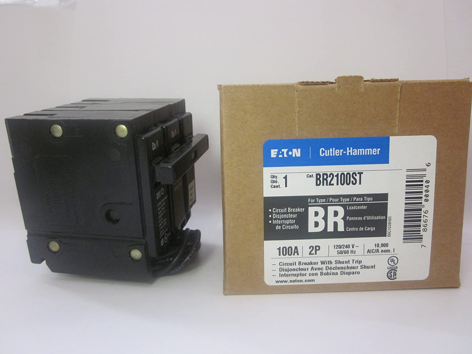 Cutler Hammer BR2100ST Circuit Breaker, 2-pole 100-amp with Shunt Trip