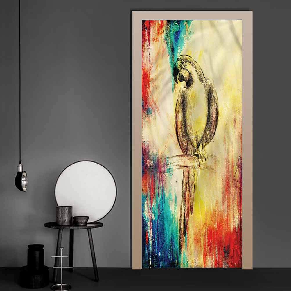 Wall Decal Parrot, Vintage Grunge Parrot Removable Stickers No Residue or Damage 35.4 x 78.7 Inch
