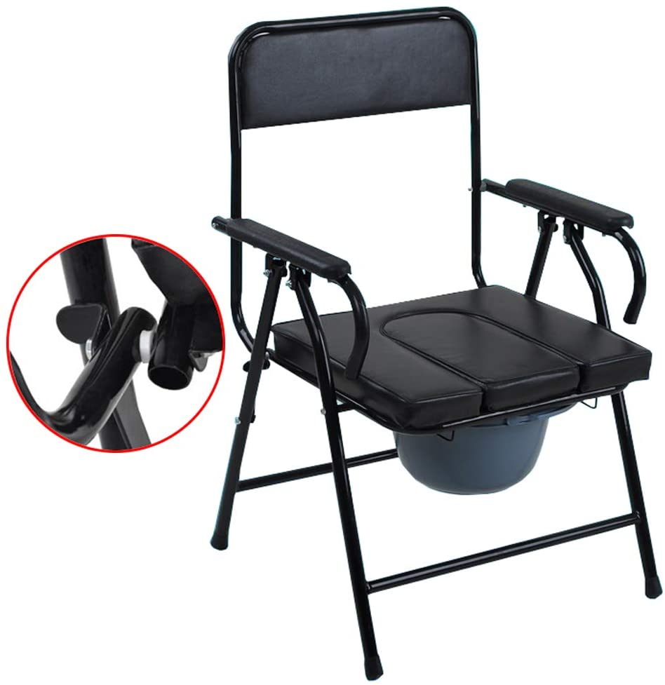 Medical Folding Bedside Commode Chair - Potty Chair with Padded Seat Safety Frame Rails Toilet Surround Shower Toilet Chair for Elderly/Disabled/Handicapped Max.150kg