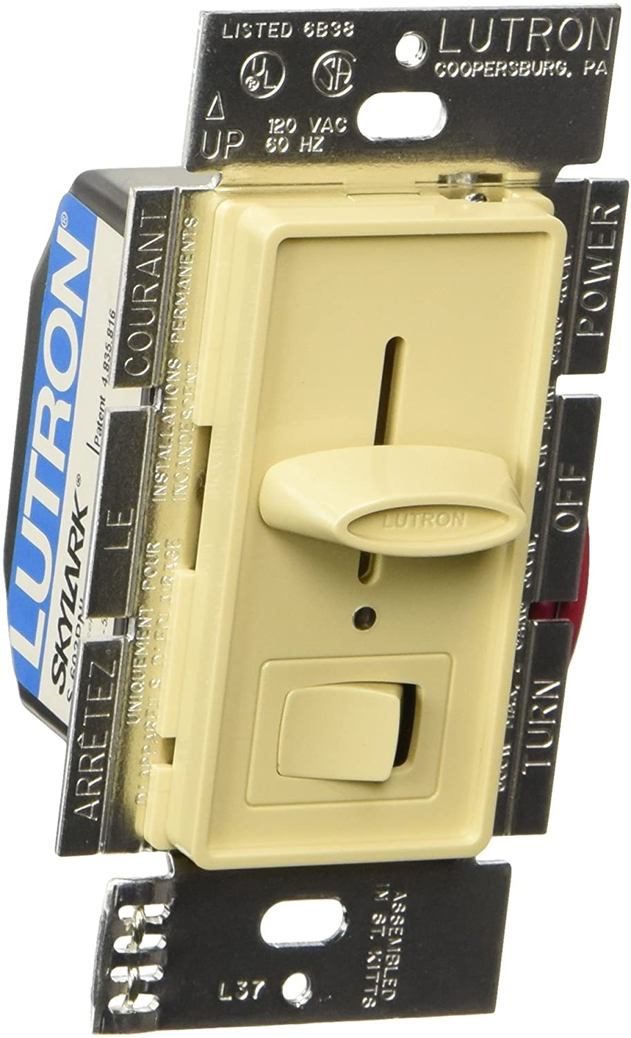 Lutron S-603PNLH-IV LIGHTING DIMMER, Ivory