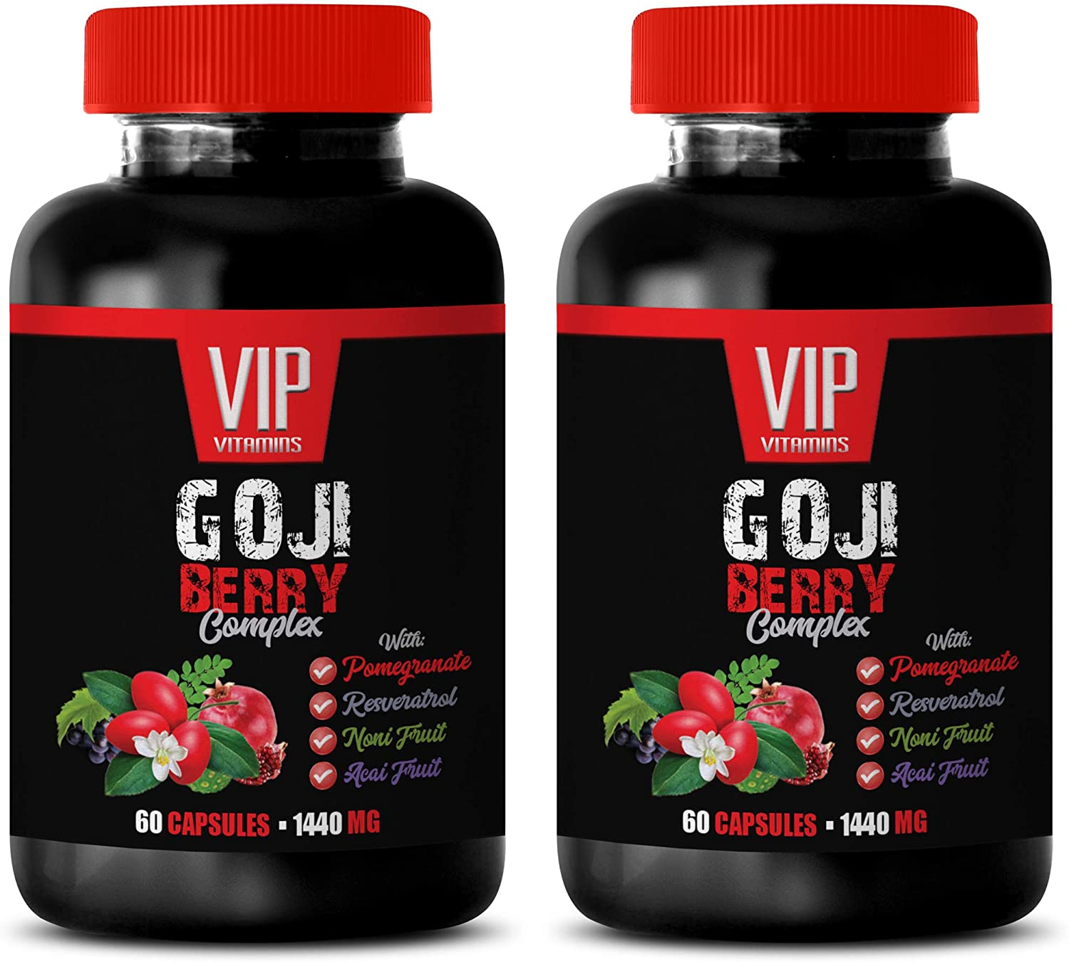 Immune Support Vitamins for Adults - Goji Berry Complex - with Pomegranate, RESVERATROL, NONI, ACAI - Noni Extract Capsules - 2 Bottles 120 Capsules