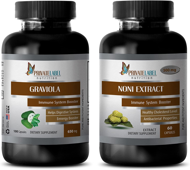 antiaging Central - GRAVIOLA - NONI - graviola Powder Natural - (2 Bottles Combo)