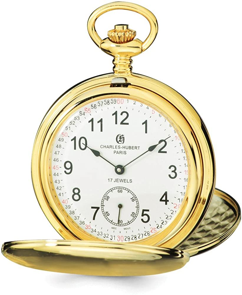 Charles Hubert IP-Plated Stainless Steel White Dial Pocket Watch 14.5