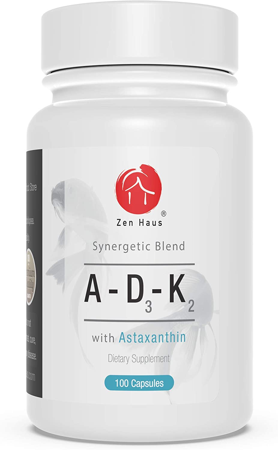 Zen Haus Vitamin ADK Supplement with Vitamins A, D3 and K2 (MK-7 Non-Soy) with Astaxanthin - for Vision, Strong Bones and Teeth, and Immune System Support - D3 Complex (ADK Vitamin) with Antioxidants