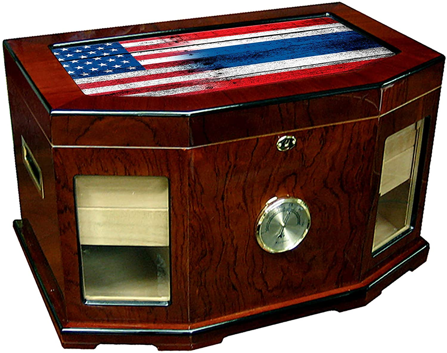 Large Premium Desktop Humidor - Glass Top - Flag of Thailand (Thai) - Wood with USA Flag - 300 Cigar Capacity - Cedar Lined with Two humidifiers & Large Front Mounted Hygrometer.