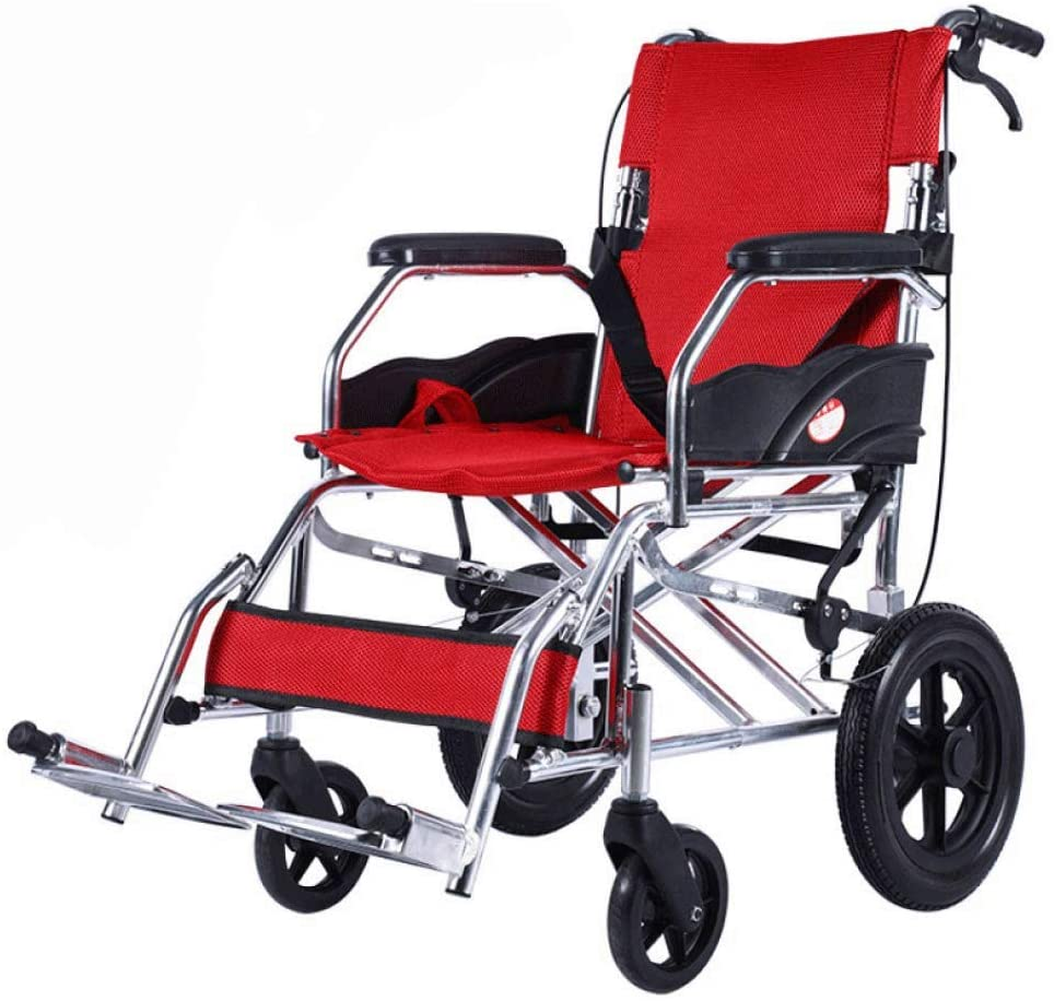 HWZLOIK Wheelchair - Drive Medical Lightweight Steel Transport Wheelchair, Fixed Full Arms, Seat Easy to Install and Release,Easy to Fold,Size; 90X60X86CM (Color : Red)