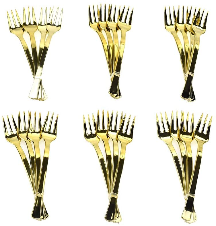 Homeford Disposable Party Cocktail Forks, Gold, 4-Inch, 24-Count