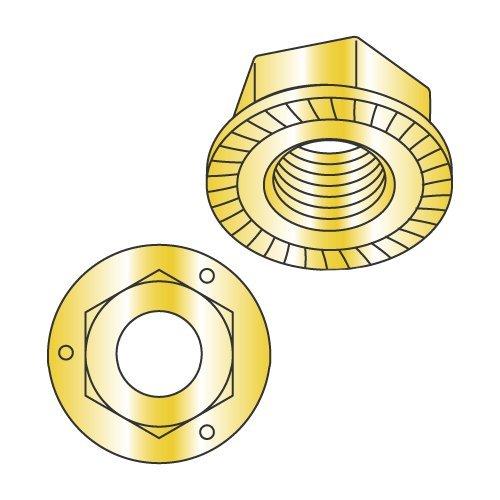 1/2-13 Serrated Hex Flange Locknuts/Grade 5 / Zinc Yellow (Carton: 250 pcs)
