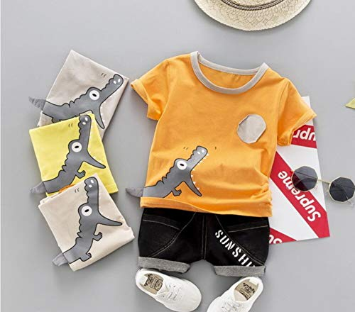 Girls Letter Love Flower Clothing Sets Top+Short Kids Clothes,Baby Suit 2019 INS Explosion Models Boys and Girls Summer Cartoon Print Crocodile Cotton Short-sleeved Shorts Two-piece (4T, Orange)