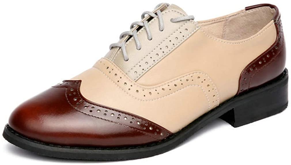 Women's Perforated Brogue Oxfords Fashion Round Toe Laces Comfortable Low Heel Non-Slip Flat Business Shoes