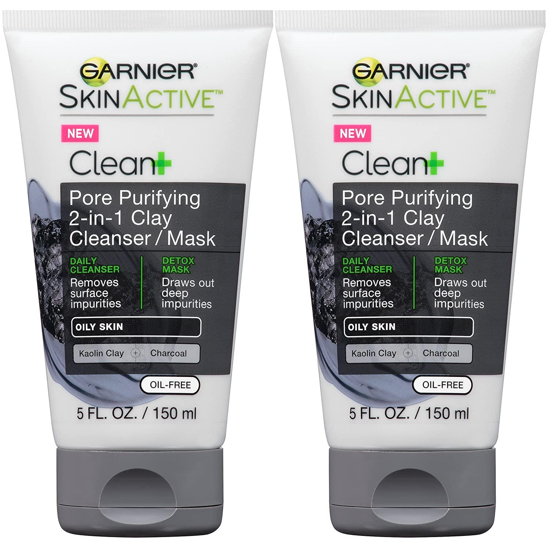 Garnier Skin Skinactive Men's Pore Purifying Charcoal Face Wash & Mask, 2 Count