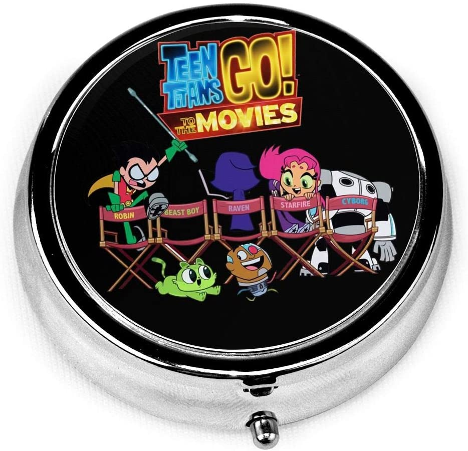 Wehoiweh Teen Titans Go! 2.0x2.0x0.7 Inch Mini Medicine Box, Full Size Printing is Easy to Carry