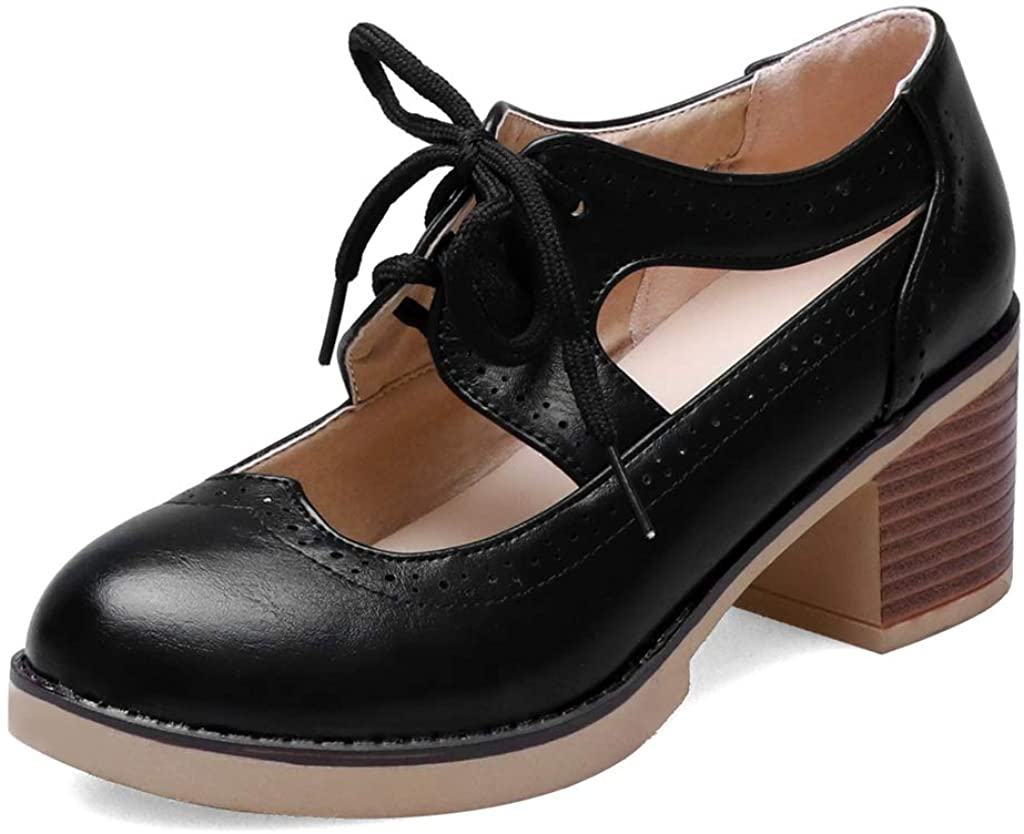 MIOKE Womens Pump Oxfords Brogues Cutout Wingtip Lace Up Chunky Block Heel Vintage Mary Jane Dress Shoes