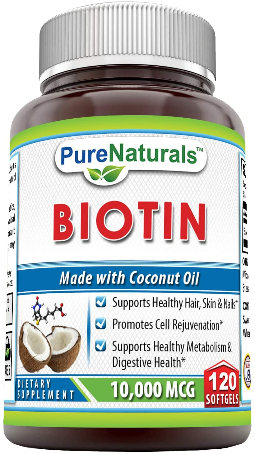 Pure Naturals Biotin Made with Coconut Oil Dietary Supplement - 10,000mcg - 120 Softgels - Supports Healthy Hair, Skin & Nails - Promotes Cell Rejuvenation