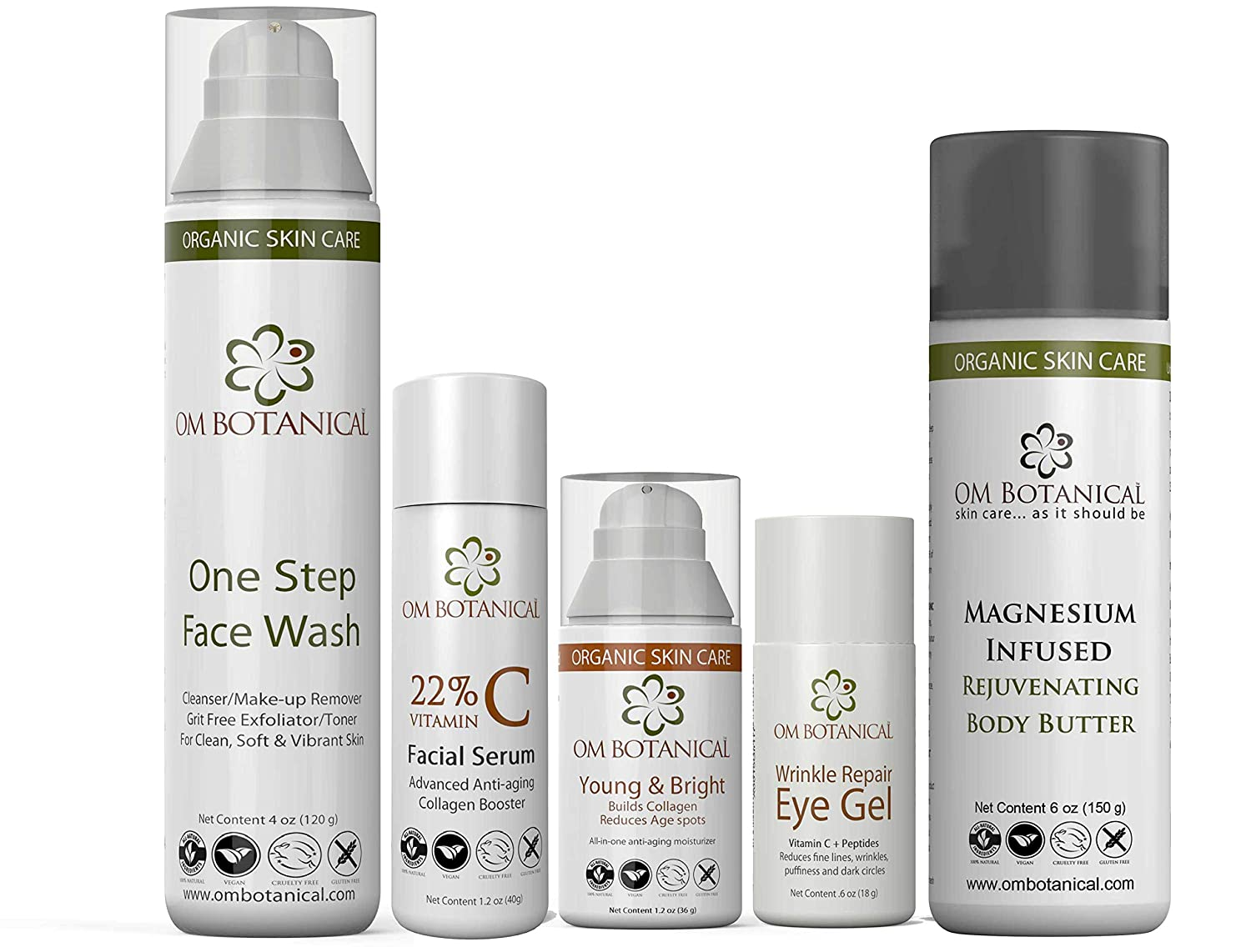 Advanced Anti-Aging Kit - All-in-one Face Wash, Vitamin C Serum, Young and Bright Facial Moisturizer w/Sunscreen, Wrinkle Repair Eye Gel, Magnesium Body Lotion | 100% Natural & Organic Ingredients