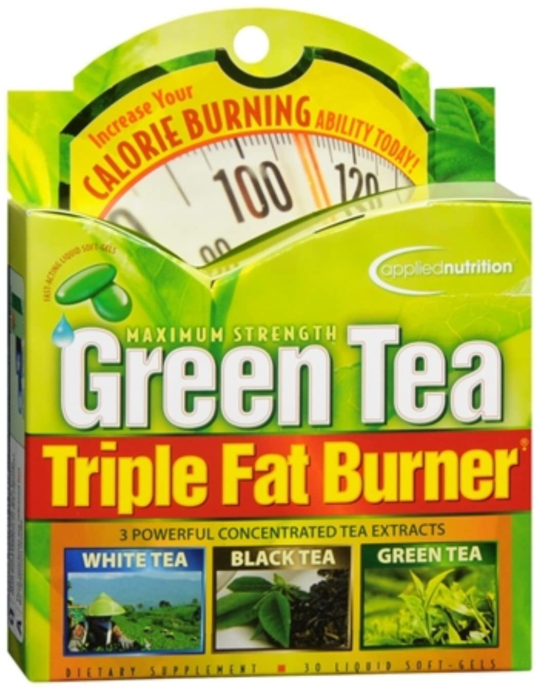 Applied Nutrition Green Tea Triple Fat Burner Liquid Soft-Gels 30 Soft Gels (Pack of 4)