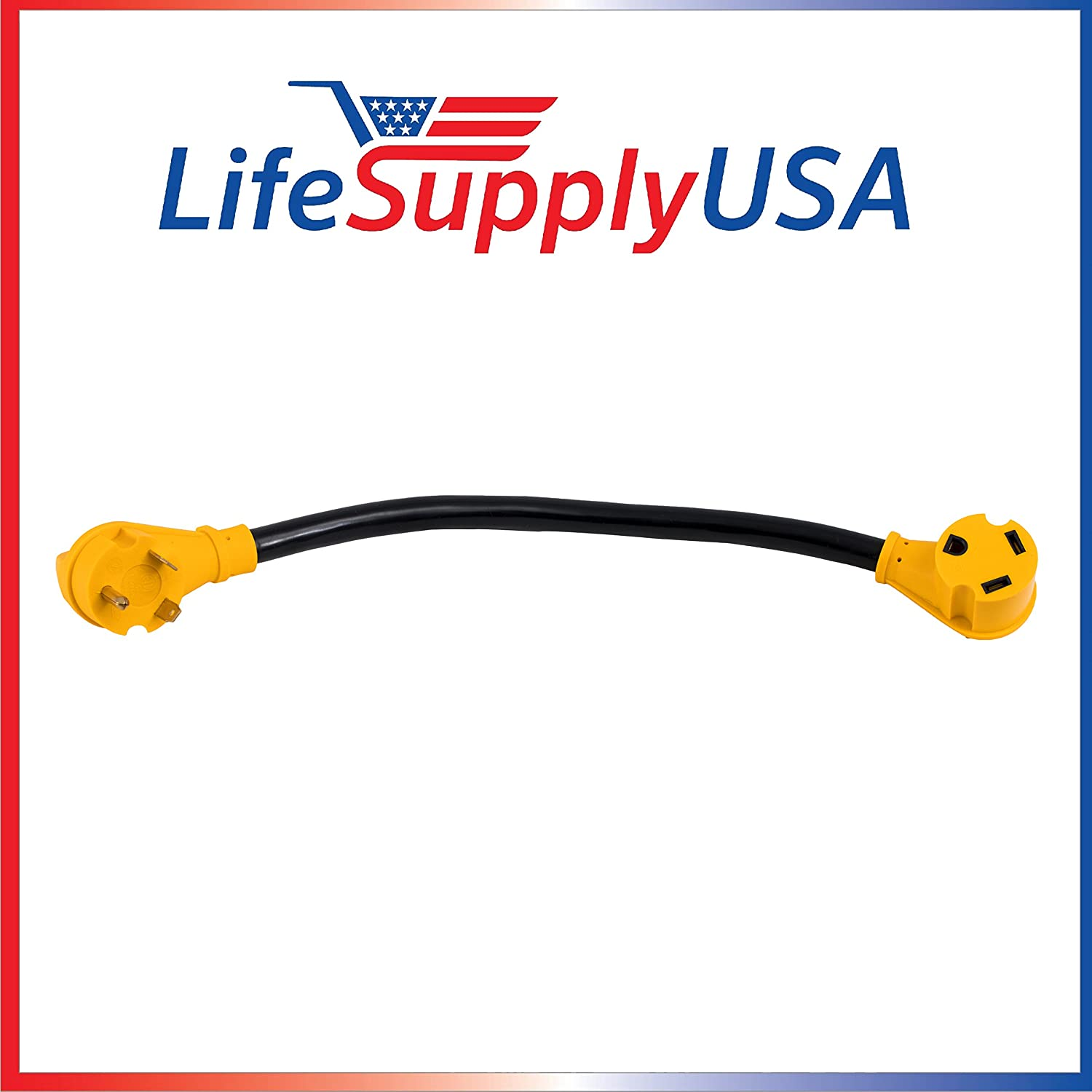 LifeSupplyUSA 50 Pack - 25 Feet RV Extension Cord with PowerGrip Handle, Hook and Loop Strap 30 Amp 10-Gauge 10AWG3 10/3 125V STW TT30P/TT30R 25ft