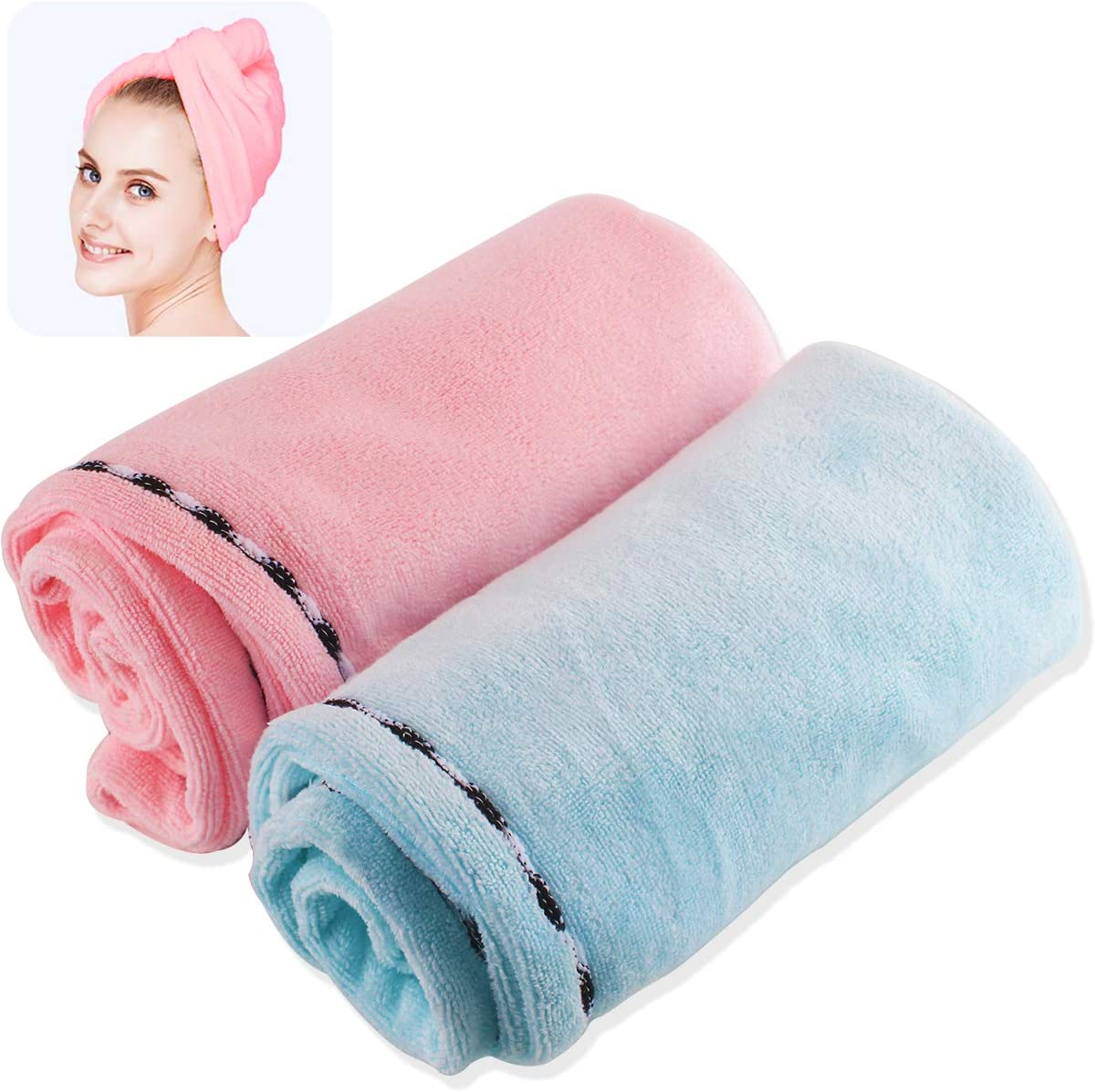NORACLAN Microfiber Hair Towels Drying Wraps for Women Turban Twist Hair Towel Wrap Head Towel with Button, Soft and Strong Water Absorption, No Fading, No Lint