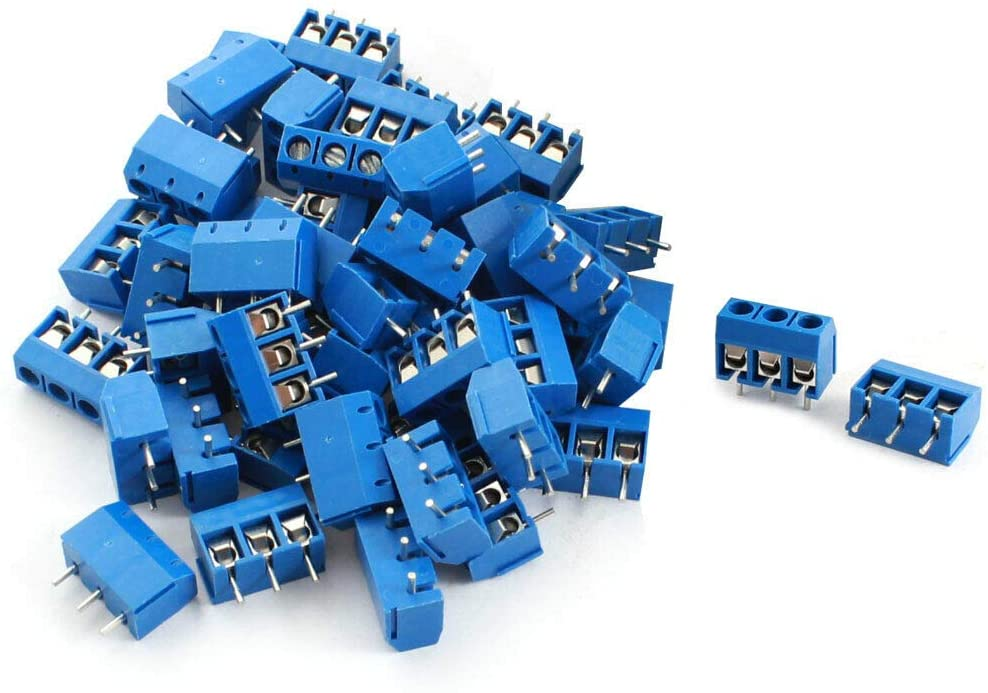 Electronic Components 50Pcs 3 Pin 5.0mm Pitch PCB Board Mount Screw Terminal Block 12A 300V Blue