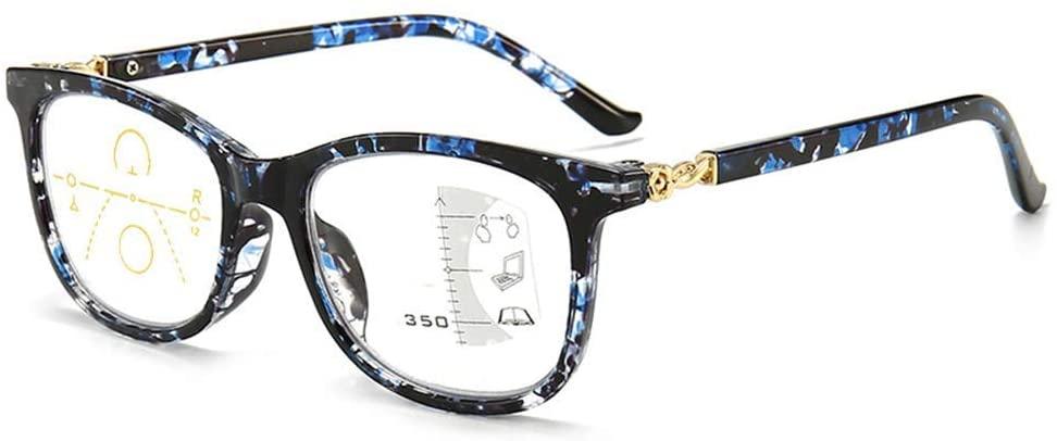 MWAH Progressive Reading Glasses for Women Multifocal Blue Light Blocking Computer Reading Glasses No Line Multifocal Reading Glasses Blue (+1.5)