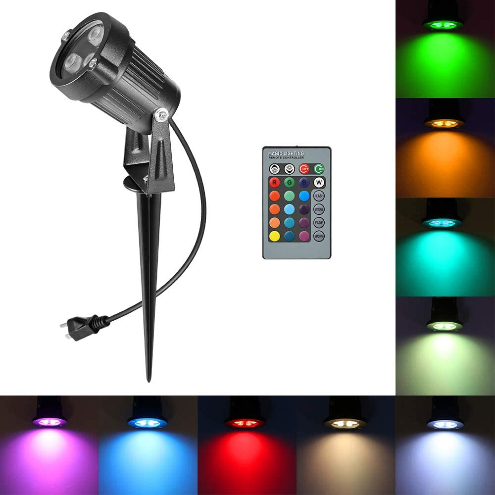 Houkiper RGB Landscape Light Outdoor Led Spotlight,6W Waterproof Ac Electric Landscape Lawn Flood Light Fixture,Color Changing Landscape Light Stake for Pathway, Walkway, Garden, Patio, Ground, Yard