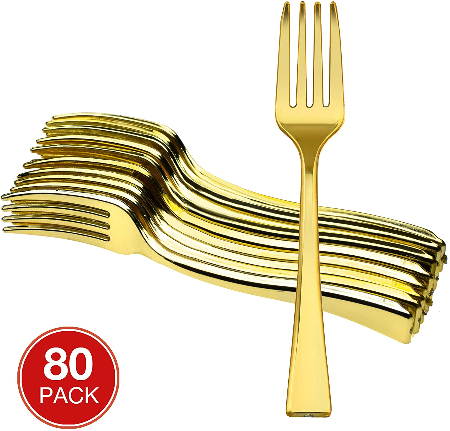 Majestic Settings Mini Collection Disposable Plastic Mini Forks, Plastic Tasting Forks, 4 inch Forks, Great for Desserts, Sampling, or Appetizers… (Gold 80 pk)