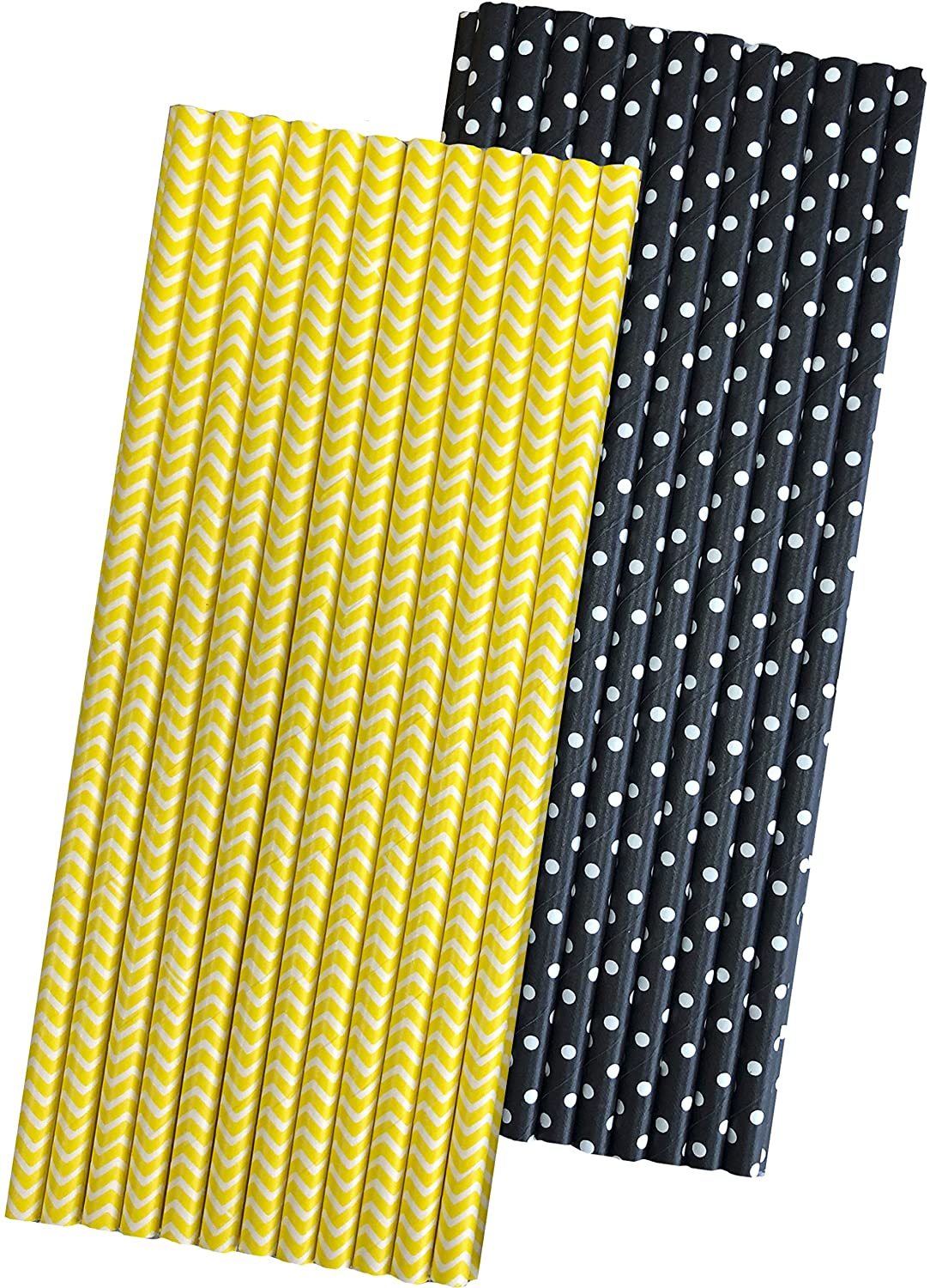 Bee Theme Striped and Polka Dot Paper Straws - Black Yellow White - 50 Pack Outside the Box Papers Brand