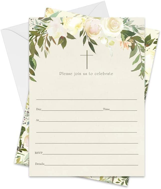 Greenery Baptism Invitations (25 Cards) Fill in Details for Christening – Naming Ceremony – Dedication – Confirmation – Communion – Baby, Kids and Adults Celebration- Invite and Envelope Pack - DIY